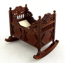 Melody Jane Dolls House Walnut Tudor Rocking Cradle Cot Crib Fine Quality