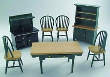 DOLLS HOUSE 1/12 SCALE 7 PC TRADITIONAL WOODEN KITCHEN SET