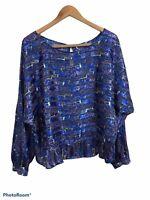 Free People Women's Blue Bonsai Tree Print Satin Long Sleeve Blouse Size Large
