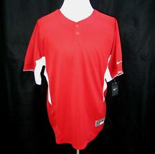 New Nike Mens Red White Short Sleeve Dri-Fit Baseball Henley Shirt (Size Medium)