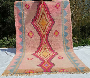 Vintage Handmade Morrocan Boujaad Rug Vintage Berber Carpet Wool 6″x8″ feet