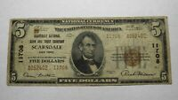 $5 1929 Scarsdale New York NY National Currency Bank Note Bill! Ch. #11708 FINE!