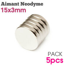 Lot 5pcs Aimant Neodyme Disque Rond Puissant Neodymium NdFeB Magnet 15mm x 3mm