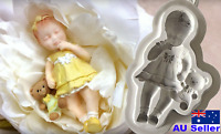Silicone Baby Girl Mould Toy Teddy Bear Silicon Mold Cake Fondant Christening
