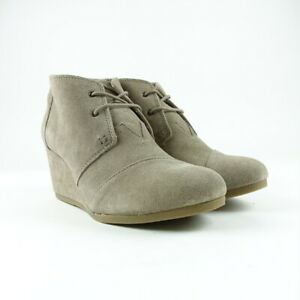 TOMS Women's Desert Taupe Suede Booties Lace Up Wedge Size 12