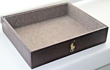 Polo Ralph Lauren Brown Organizer Gold Pony Tray Genuine