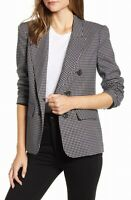 1.STATE Womens Blaer Black XS Ruched Sleeve Windowpane Button-Detail $139 247