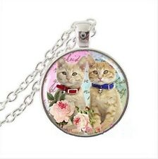 silver Glass Chain Pendant Necklace#55 Vintage Two cats Cabochon Tibetan