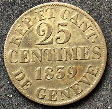 25 Centimes 1839 Schweiz Canton Genf KM#129