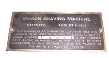 EDISON SHAVING MACHINE PHONOGRAPH ORIGINAL  ID PLATE