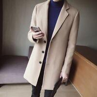 Korean Style Mens Wool Blend Lapel Coat Long Loose Parka Trench Outwear Overcoat