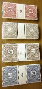 EBS French Mauritania 1915 Postage Dues MNH** gutter pairs - interpanneaux (424