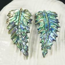 Multicolor Paua Abalone Shell Iridescent Carved Exotic Leaf Earring Pair 4.21 g