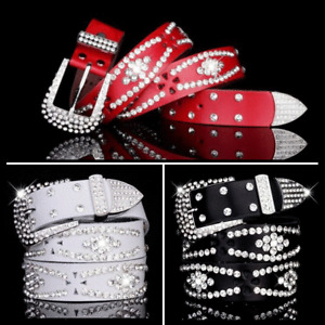 Women Faux Leather Belts Crystal Studded Wet Look Waistband Hollow Out Glitter