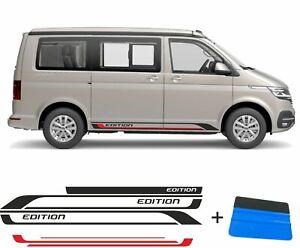 VW T6 T5 T6.1 Seitenstreifen Set EDITION Schwarz/Rot