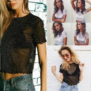 Women Sexy Tops Chiffon Short Sleeve Tee Round Neck Transparent Gauze T-Shirt