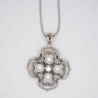 premier designs jewelry retro matte silver tone flower pearl pendant necklace