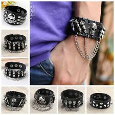 Men Women Gothic Alloy Skull Rivet Leather Bracelet Punk Style Rock Wrist Band