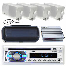 "New Marine Boat MP3 Player AUX Radio 4) 3.5"" Box Waterproof Speakers Amp Kit Sys"
