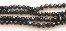 25 Round Faceted Crystal Glass Beads - Black - 8mm