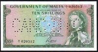 1963 MALTA 10 SHILLINGS BANKNOTE * A/1 020512 * EF * P-25a *
