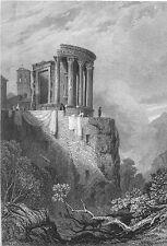 Italy, TIVOLI TEMPLE OF VESTA Villa Gregoriana ANIENE ~ 1831 Art Print Engraving