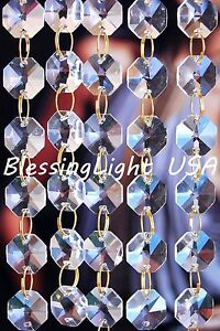 Clear - Lead Glass Crystal - Octagon Chandelier - Prisms Chains