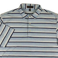 Peter Millar Summer Comfort Golf Polo Shirt Mens XL X-Large Striped Blue White