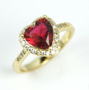Women's Red Crystal Gold Plated Heart Ring