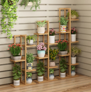 Flower stand multi-layer upright bamboo shelf balcony garden flower pot stand