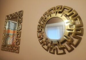 Vintage Set of 2 Modern Hollywood Regency Greek Key Brass Mirrors