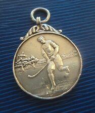 Plata esterlina temprano FOB medalla H/m 1922-hockey/Shinty-no grabado
