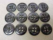 (12) New Vintage US Navy Military Anchor Insignia Black Plastic Buttons JV5381