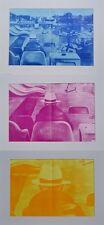 Jacques Monory (geb. 1924), Triptychon, hinter Passepartout, 1978, je 55 x 38 cm