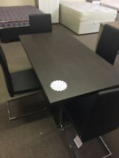 4 SEATER WOOD TONE DINING TABLE AND BLACK CHAIRS SET - CHEAP CLEARANCE