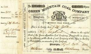 USA 1866 Green Mountain Coal Company Philadelphia Decorative Founder Share $3000