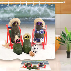 Waterproof Avocado Family at Beach Shower Curtain Liner Bath Mat Set 12 Hooks