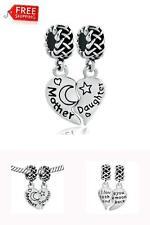 925 Sterling Silver Heart Charm Beads Mother Daughter Bracelet Mom Love