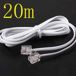 High Speed 20m 60ft RJ11 Telephone Phone ADSL Modem Line Cord Cable