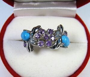 BLUE TURQUOISE/AMETHYST/TOPAZ RING 2.16 CTW #6.75 14k WHITE GOLD over 925 SILVER