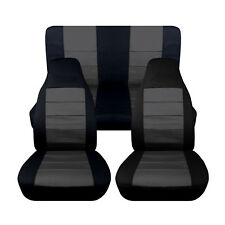 Fits 1998-2004 Volkswagen Beetle Black and Charcoal Front and Rear Seat Cover