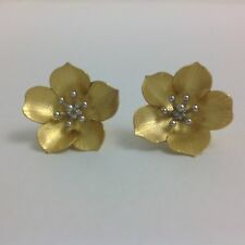 14K YELLOW AND WHITE GOLD FLOWER EARRINGS