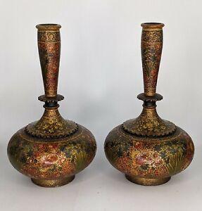 c19th Kashmiri Lacquer Pair of Bottle Vases - Paper Mache Indian Antique Superb