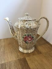 Mid-Century Vintage Royal Victoria Wade England Gold Chintz Floral Teapot
