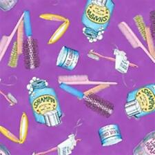 Mouse Makeovers Salon Supplies on Purple Cotton Fabric Fat Quarter