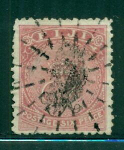 "FIJI 39 SG33 Used 1877 6p rose Crown & ""VR"" Laid Paper Cat$43"