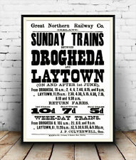 Drogheda laytown Irish Railway train timetable advertising poster reproduction.