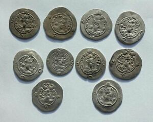 *SC*   LOT OF 10 UNRESEARCHED BETTER SASANIAN SILVER DRACHMS, VF!