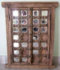 Old Antique Wooden Hand Carved Mirror Brass Work Window Door