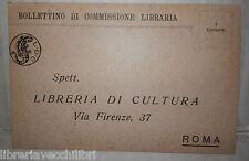 CARTOLINA BOLLETTINO DI COMMISSIONE LIBRARIA VENDITA DI CULTURA ROMA LDC di e